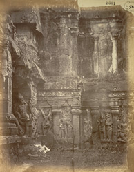 Sculpture inside the left entrance of the Kailasanatha rock-cut temple, Ellora
